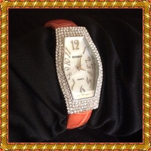 Gossip / Crystals Orange Band Bracelet Watch NWOT